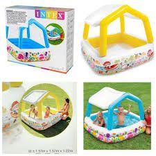 Бассейн детский надувной со съемной крышей Домик Intex 57470