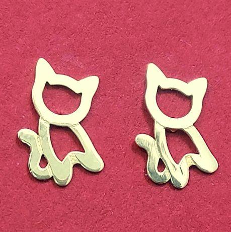 Kolczyki kotki Złote 585 14k na zatyczki