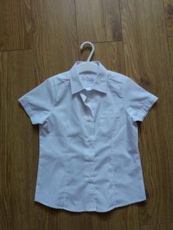 Biała koszula r.110 bluzka koszulowa z krótkim rękawem Nowa