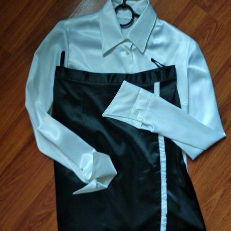 костюм двойка: атласные рубашка и юбка, 42-44 размер