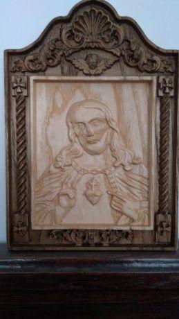 Serce Gorejące Jezus Święta Prezent Drewno Ozdoba Dekoracja Ślub