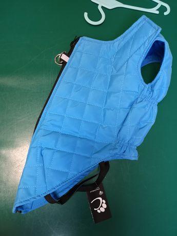 Kurtka dla psa pikowana niebieska z odblaskiem rozmiar 5