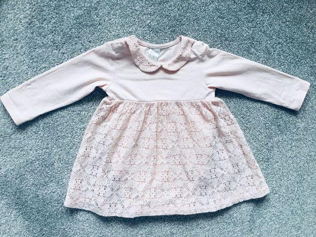 Piekna sukieneczka koronkowa H&M, r. 74 pudrowy róż, ślub, urodziny