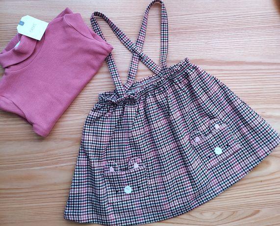 Komplet next nowe spódnica szelki bluzka koszulka zestaw 9-12 newbie