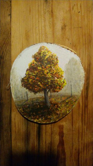 Obraz jesień na plastrze drewna