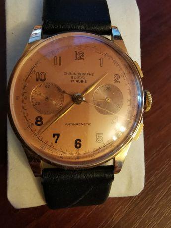 Złoty 18K, '80 letni, Piękny, Wyjątkowy Zegarek,Chronographe Suisse