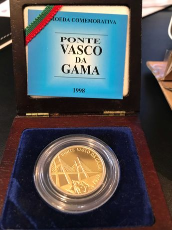"""Moeda bimetálica ouro/prata de 500 Escudos  """"PONTE VASCO DA GAMA"""""""