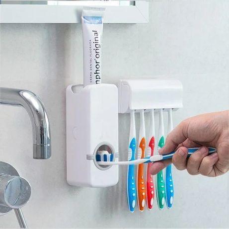 Диспенсер дозатор для зубной пасты и держатель зубных щеток