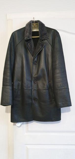 Кожаная зимняя куртка/пальто с мехом