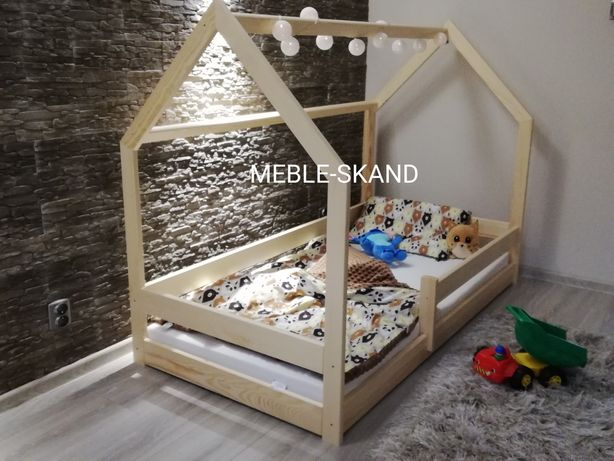 160x80 - Łóżko dziecięce domek sosnowe  BEZSĘCZNE - Wysyłka do 24h.