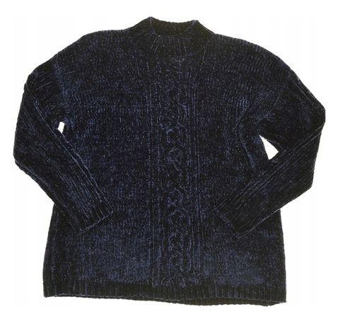 Sweter pluszowy niebieski granatowy pleciony warkocz XL XXL dłuższy