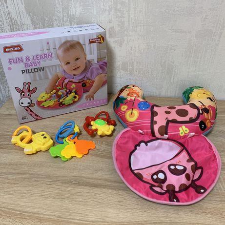 Подушка развивающая для малышей с погремушками