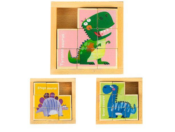 Drewniane klocki puzzle edukacyjne układanka Dino zabawka # MA442