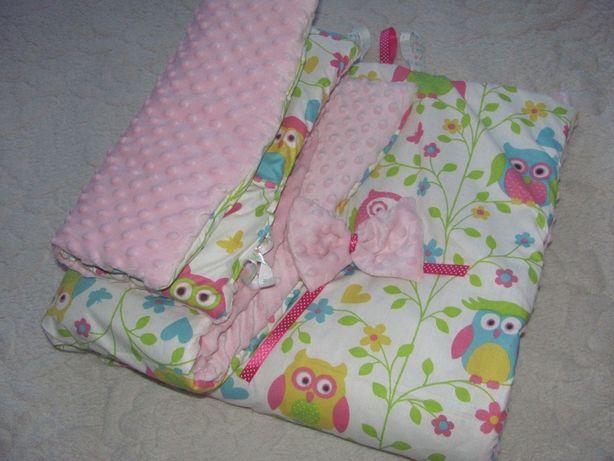 NOWA Duża pościel kołderka do łóżeczka dla dziewczynki sowy plus minky