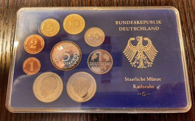 Zestaw 9 monet w blistrze- Marki niemieckie 1974- mennica G- Karlsruhe