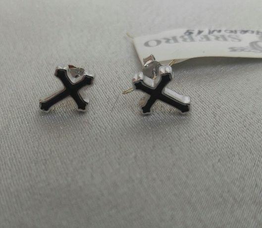 Kolczyki krzyżyki, srebro pr.925