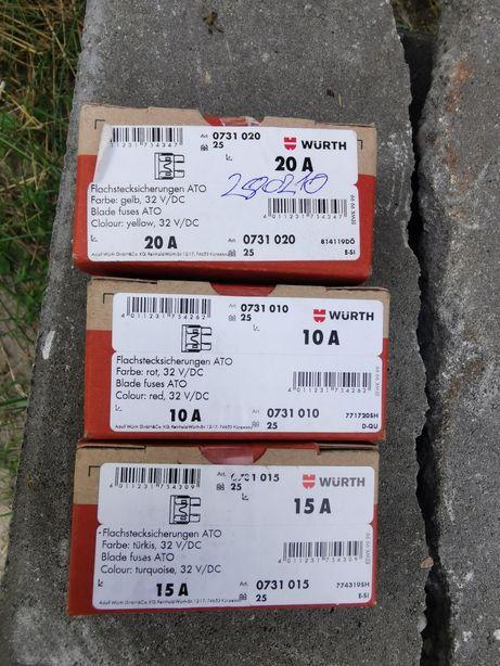 WURTH bezpiecznik topikowy ATO 32V/DC 10A/15A/20A - 75szt za 100zł