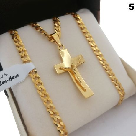 Złoty Łańcuszek Pancerka 60 + Krzyż Srebro 925 + 24k Złoto GWARANCJA!