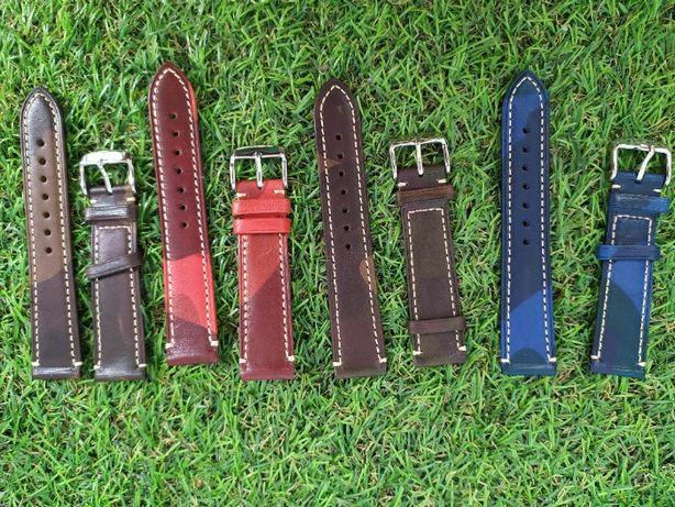 Paski do zegarka rozmiar 20mm czerwony, niebieski, brązowy