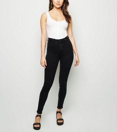 Czarne rurki wysoki stan H&M 25/32 black jeans slim fit high wiast mus