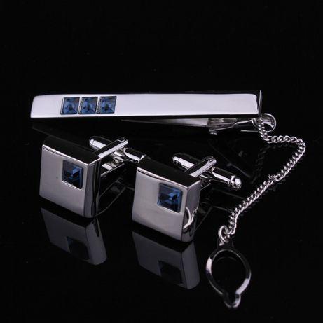 Комплект набор запонки и зажим для галстука с камнями Swarovski kz10