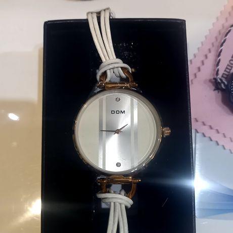Damski zegarek DOM złoty Elixa skórzany pasek elegancki