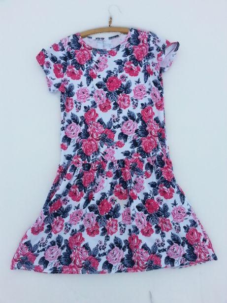Sukienka w kwiatki dziewczęca dziecięca 158