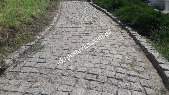Брусчатка гранитная, тротуарная плитка из гранита, бордюр, поребрик