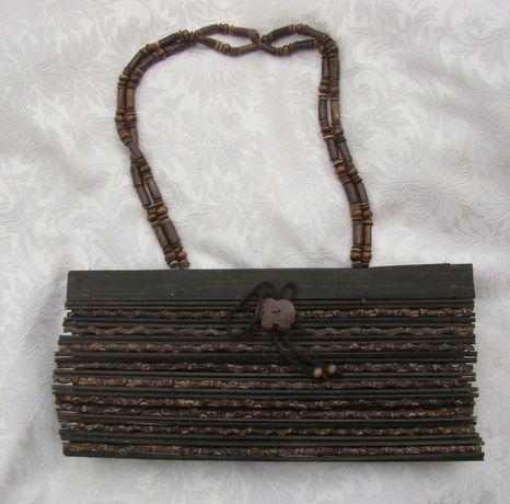 Oryginalna torebka z drewienek boho ekologia