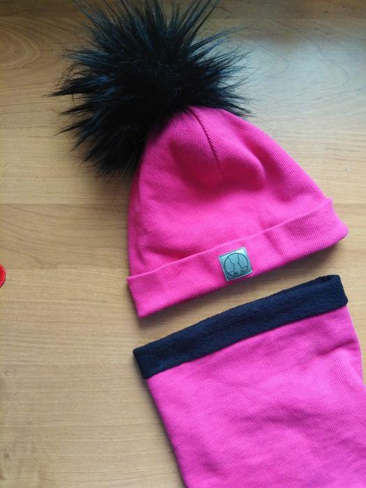 Rozowy komplecik czapka komin 2-4 latka handmade Łomża - image 1