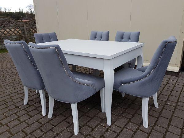 Zestaw glamour chesterfield-6 krzeseł pikowanych+stół biały PROMOCJA!!