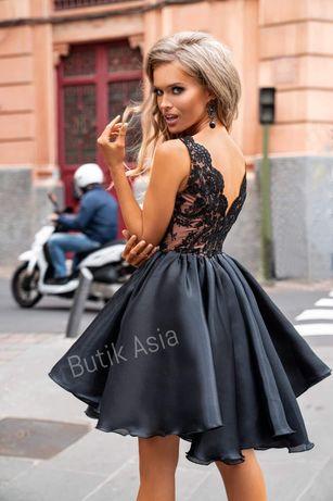 Sukienka Laura czarna beżowa,toffi ,dekolt koronkowa rozkloszowana 36
