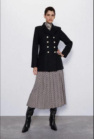 Zara płaszcz czarny wełna L/XL