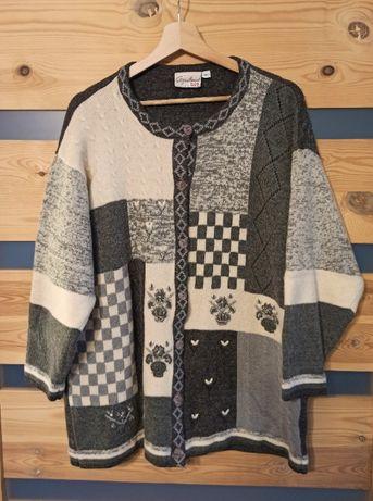 Folk haft szary wełniany sweter vintage retro