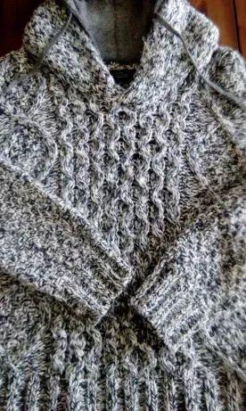 Sweter ZIMOWO-JESIENNY Zara czerń-szarość z kapturem