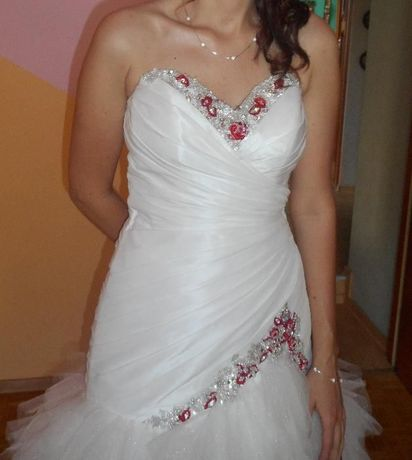 Suknia ślubna ecru/ekri,pióra,tiul,syrena,rybka,czerwona, r.38+GRATIS!