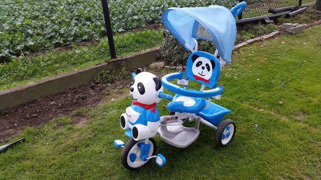 Rowerek trójkołowy Panda/jeździk z prowadnikiem - stan bardzo dobry!