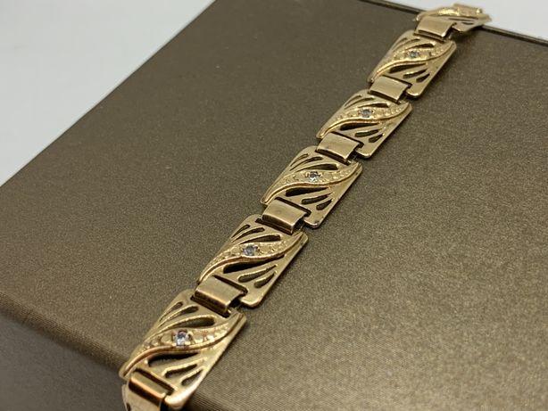 Piękna złota bransoletka p585 19cm