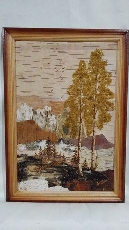 Картина с бересты размером 24х34 см.