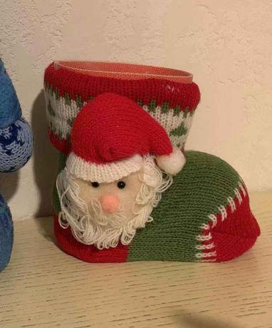 Сапог новогодний Деда мороза украшение новогоднее