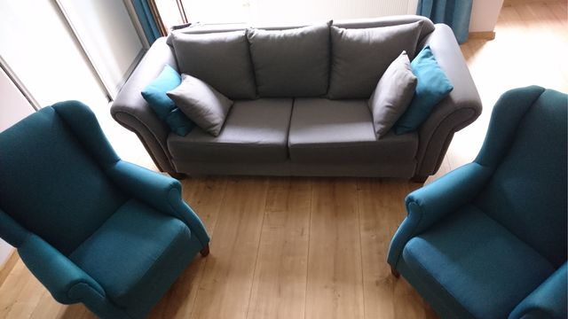 Zestaw sofa i dwa fotele