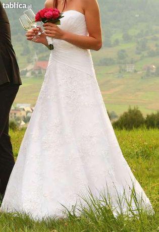 Piękna suknia ślubna stan idealny + gratisy