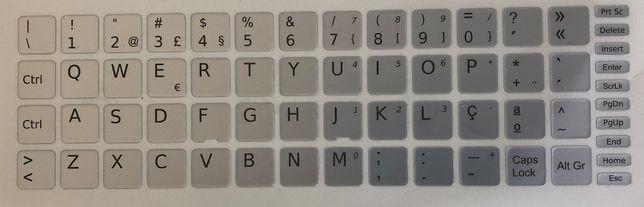 Película Teclado Autocolante Cinzento PT 13x13 WIN Keyboard Stickers