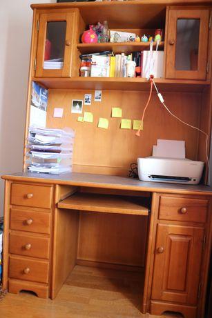 Secretária de madeira maciça com estante móvel