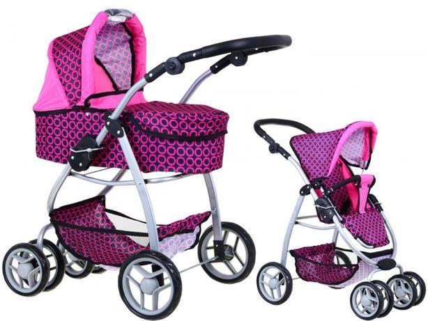Wózek dla lalek 2w1 Różowy Gondola Spacerówka Torba NOWY