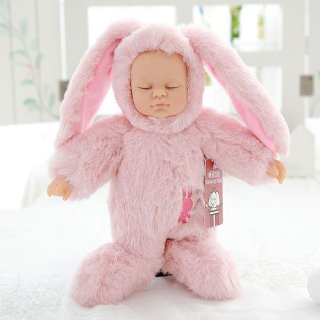 Мягкая кукла - младенец Розовый зайка