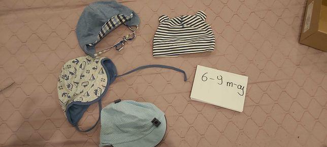 Zestaw czapeczek dla chłopca 6-9mc - 4 sztuki
