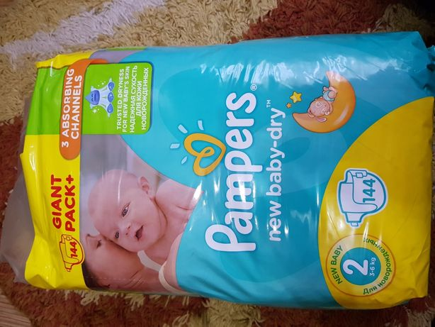 Подгузники Pampers New Baby-Dry Размер 2 Mini (1) 3-6 кг, 144 шт