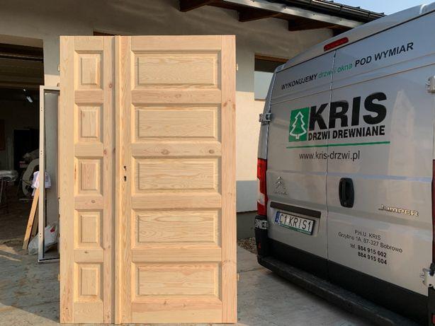 Drzwi drewniane dwuskrzydłowe lite sosnowe od ręki pełne