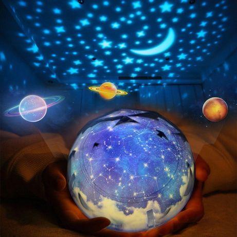 nowa gwiazda lampka projektor kosmos obrotowa gwiazdy ksieżyc